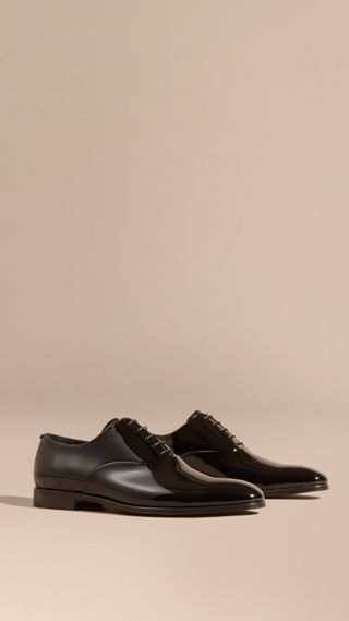 Polished Leather Lace-up Evening Shoes
