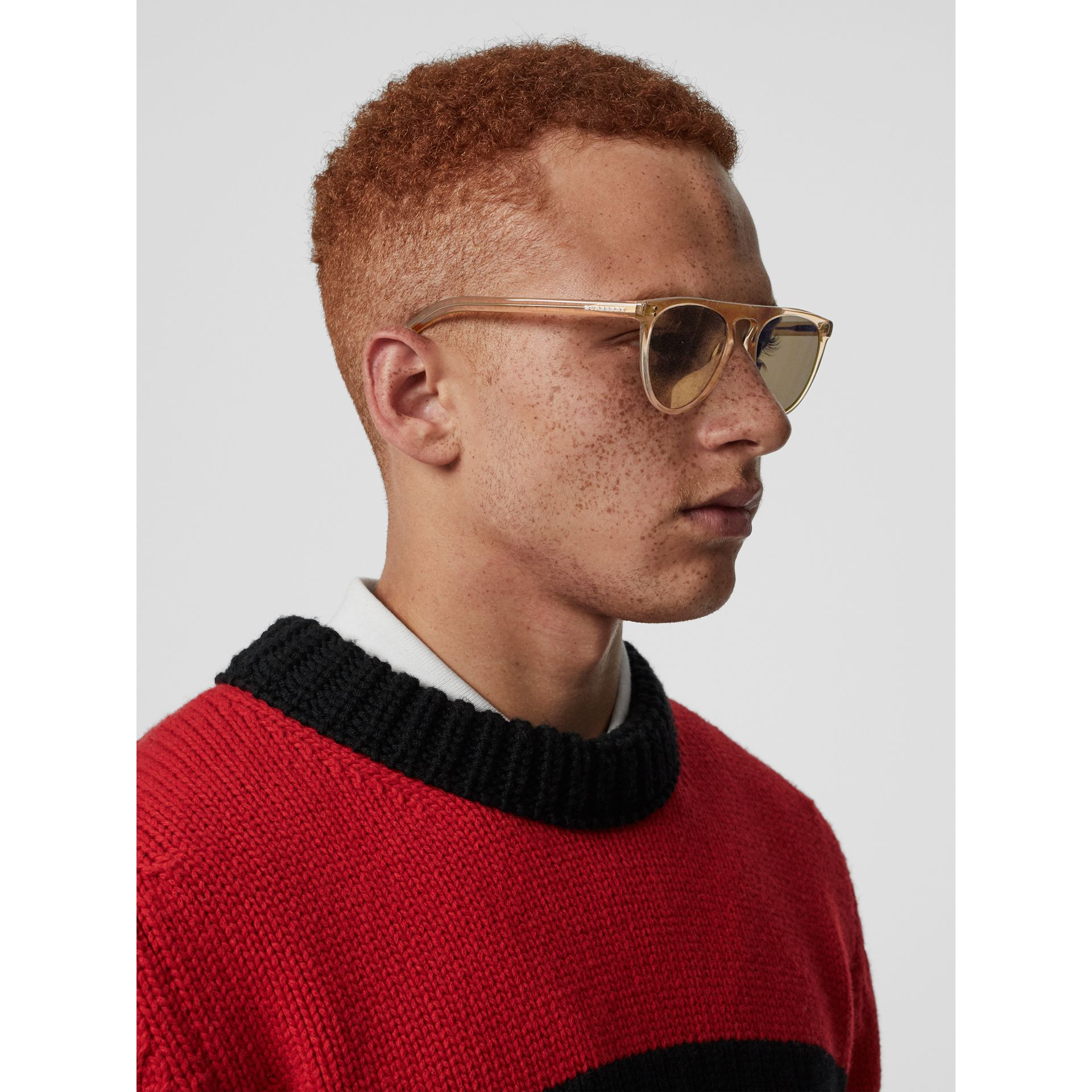 Keyhole D-shaped Sunglasses in Brown - Men | Burberry Canada - gallery image 2