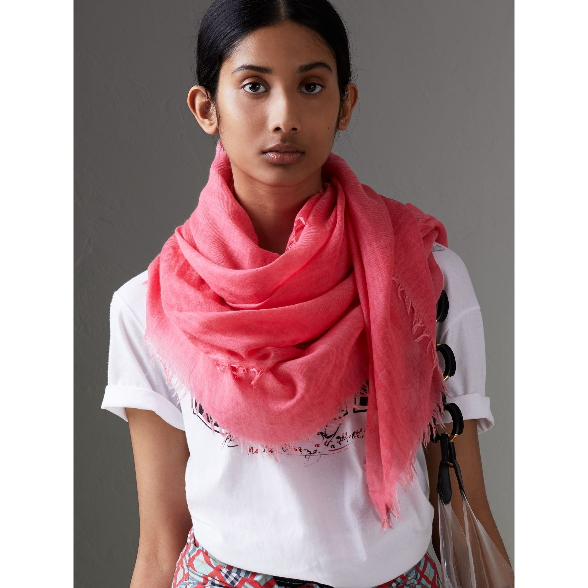 Embroidered Cashmere Cotton Scarf in Bright Coral Pink | Burberry Hong Kong - gallery image 4