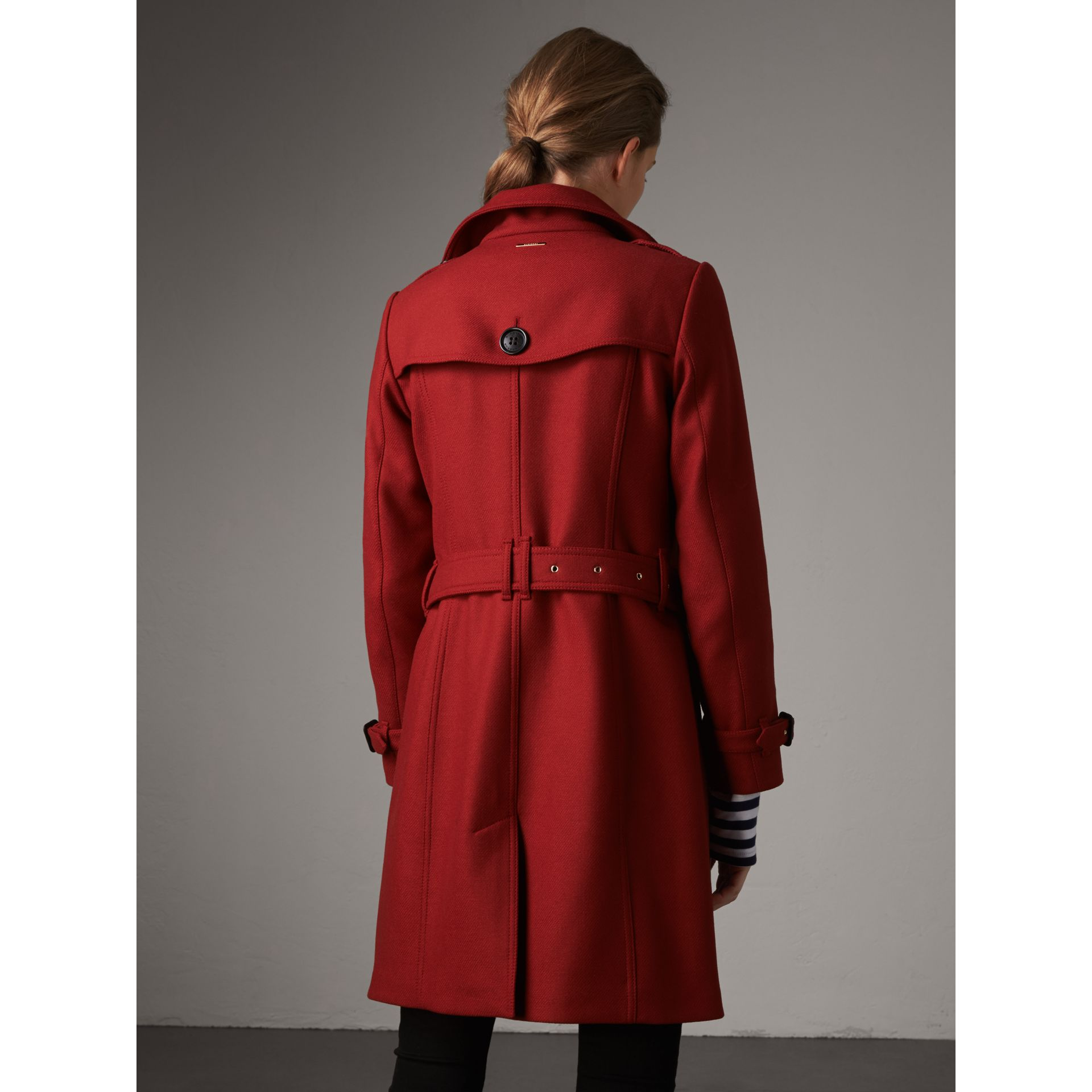 Technical Wool Cashmere Funnel Neck Coat in Damson Red - Women | Burberry - gallery image 3