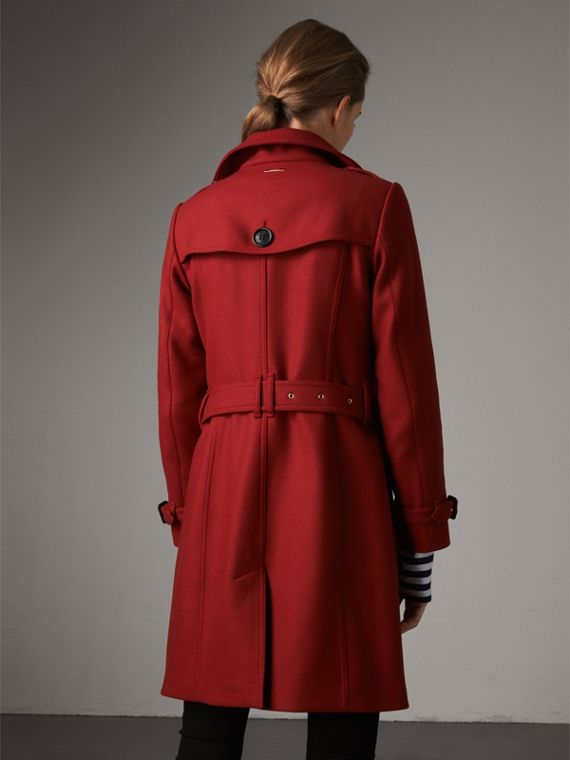 Technical Wool Cashmere Funnel Neck Coat in Damson Red - Women | Burberry - cell image 2