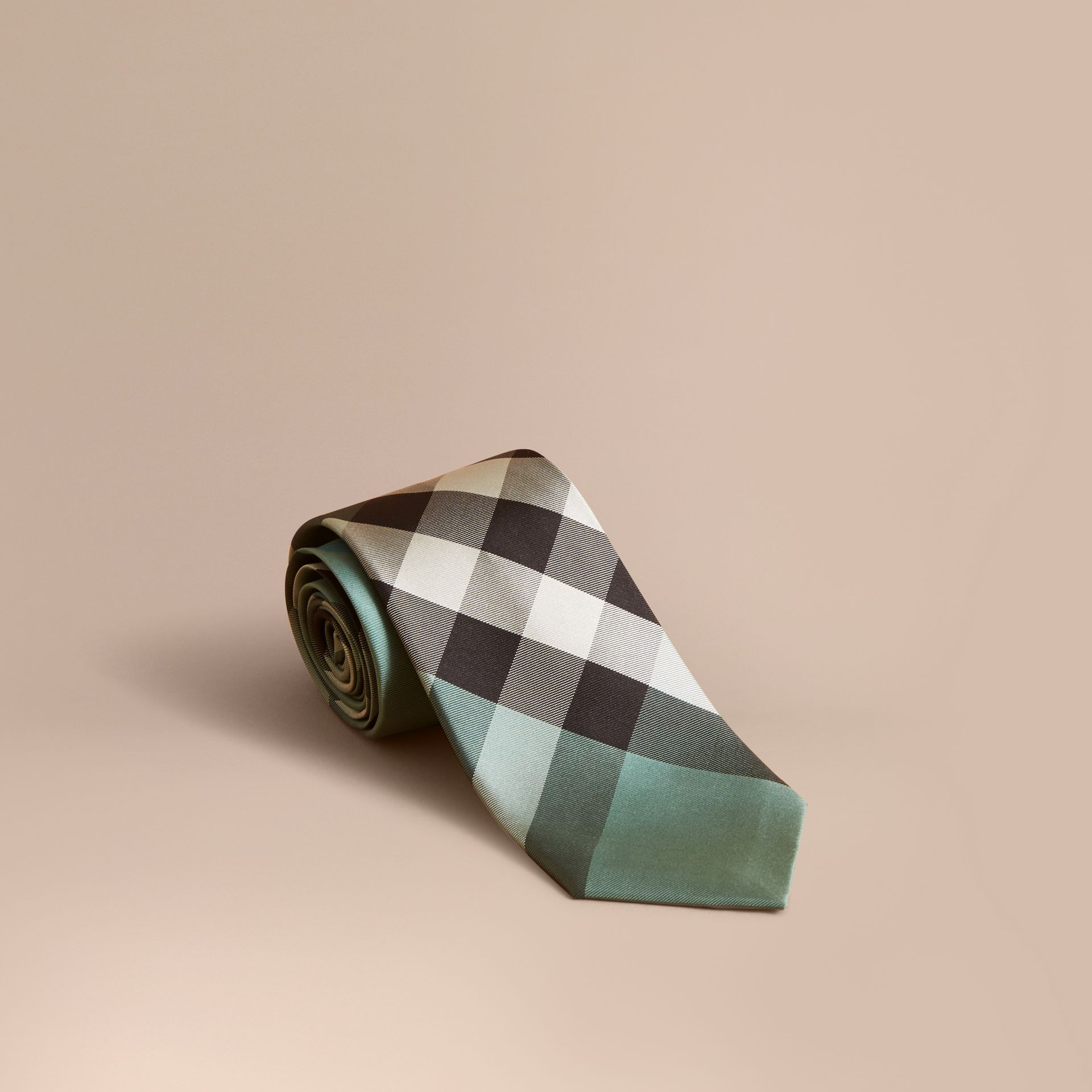 Modern Cut Check Silk Tie in Sea Green - Men | Burberry - gallery image 0