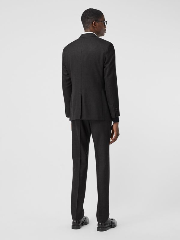 Slim Fit Prince of Wales Check Wool Suit in Dark Grey - Men | Burberry Australia - cell image 2