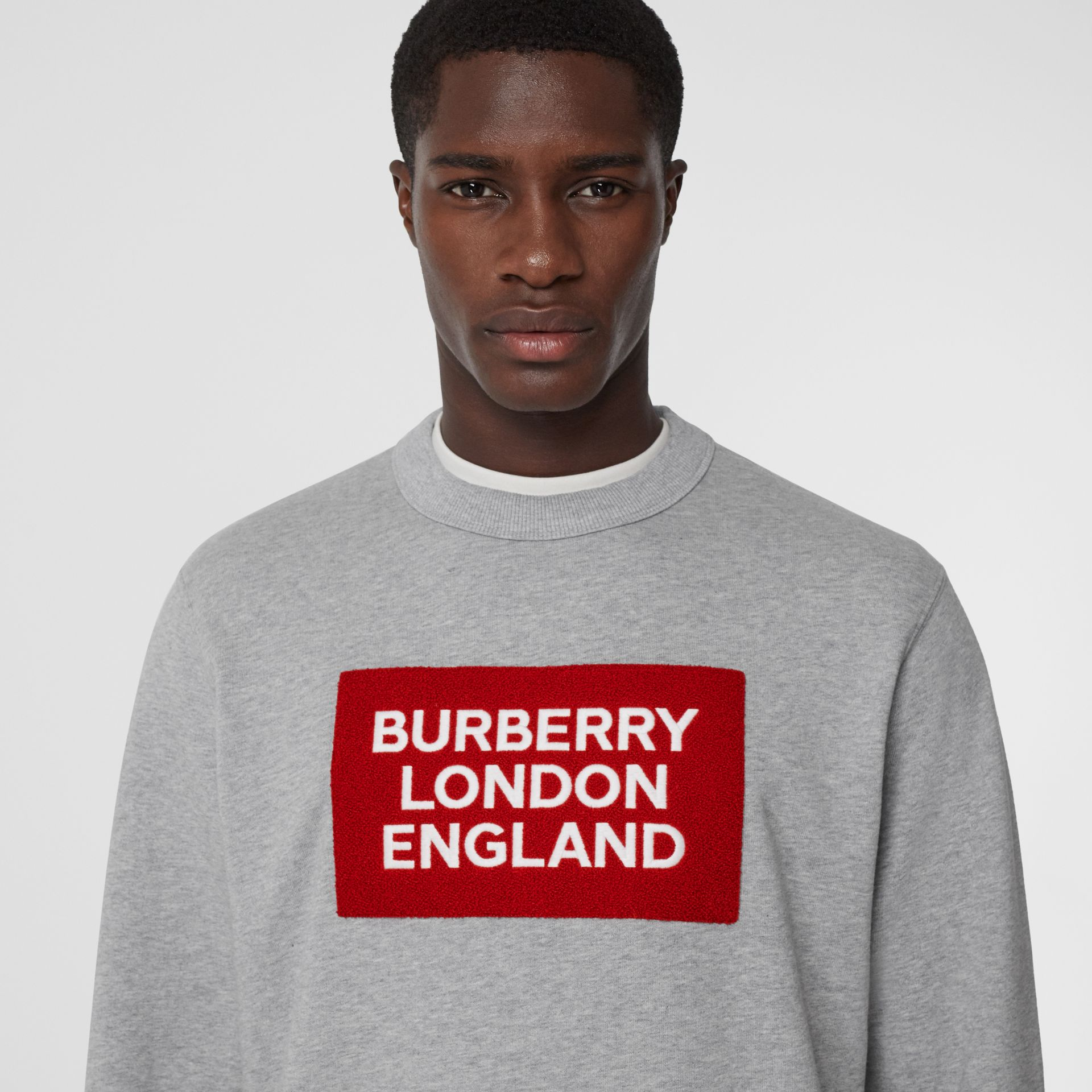 Logo Appliqué Cotton Sweatshirt in Pale Grey Melange - Men | Burberry Singapore - gallery image 1