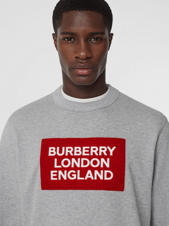 Logo Appliqué Cotton Sweatshirt in Pale Grey Melange - Men | Burberry - cell image 1