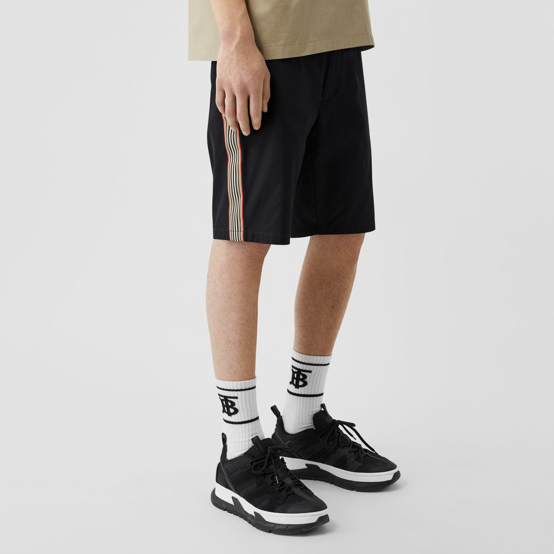 Icon Stripe Detail Cotton Twill Chino Shorts in Navy - Men | Burberry - gallery image 4