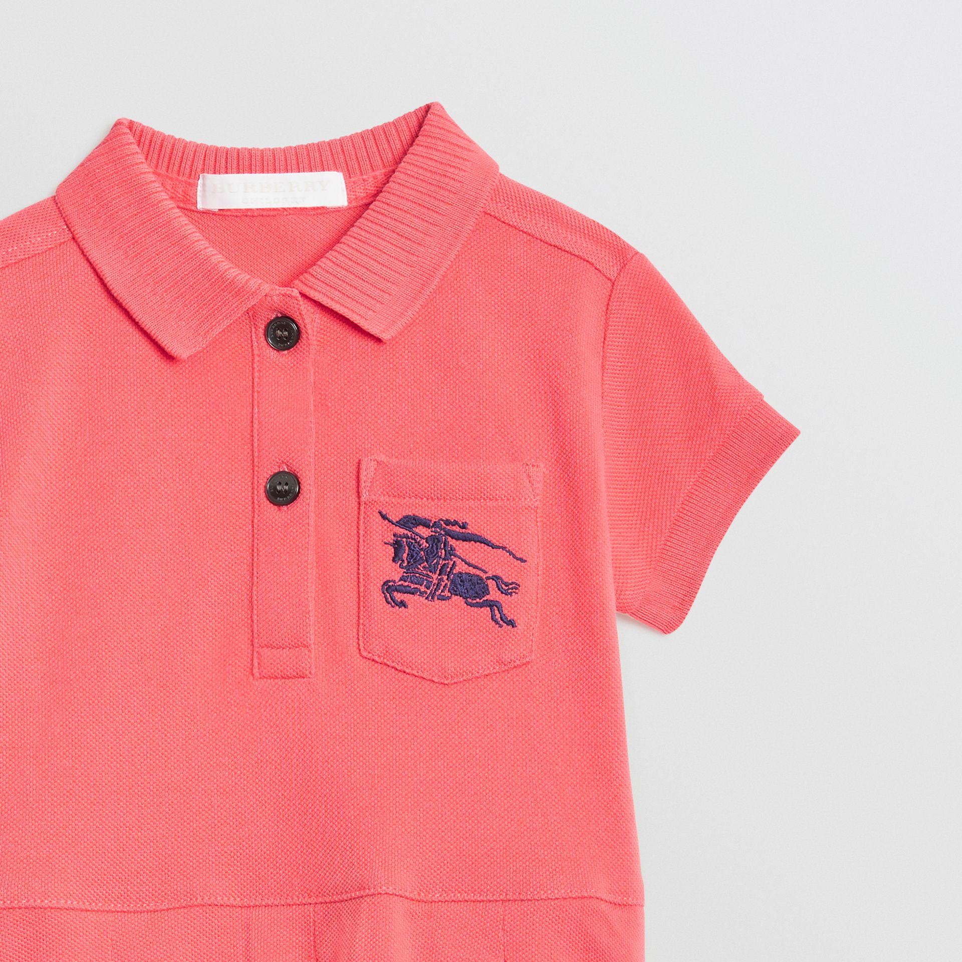 EKD Logo Cotton Polo Dress in Bright Pink - Children | Burberry - gallery image 4