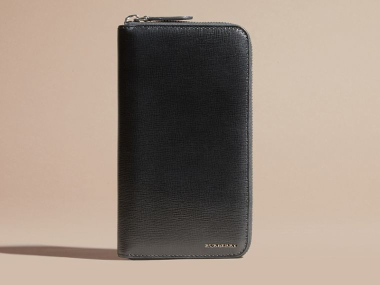 Black London Leather Ziparound Wallet Black - cell image 1