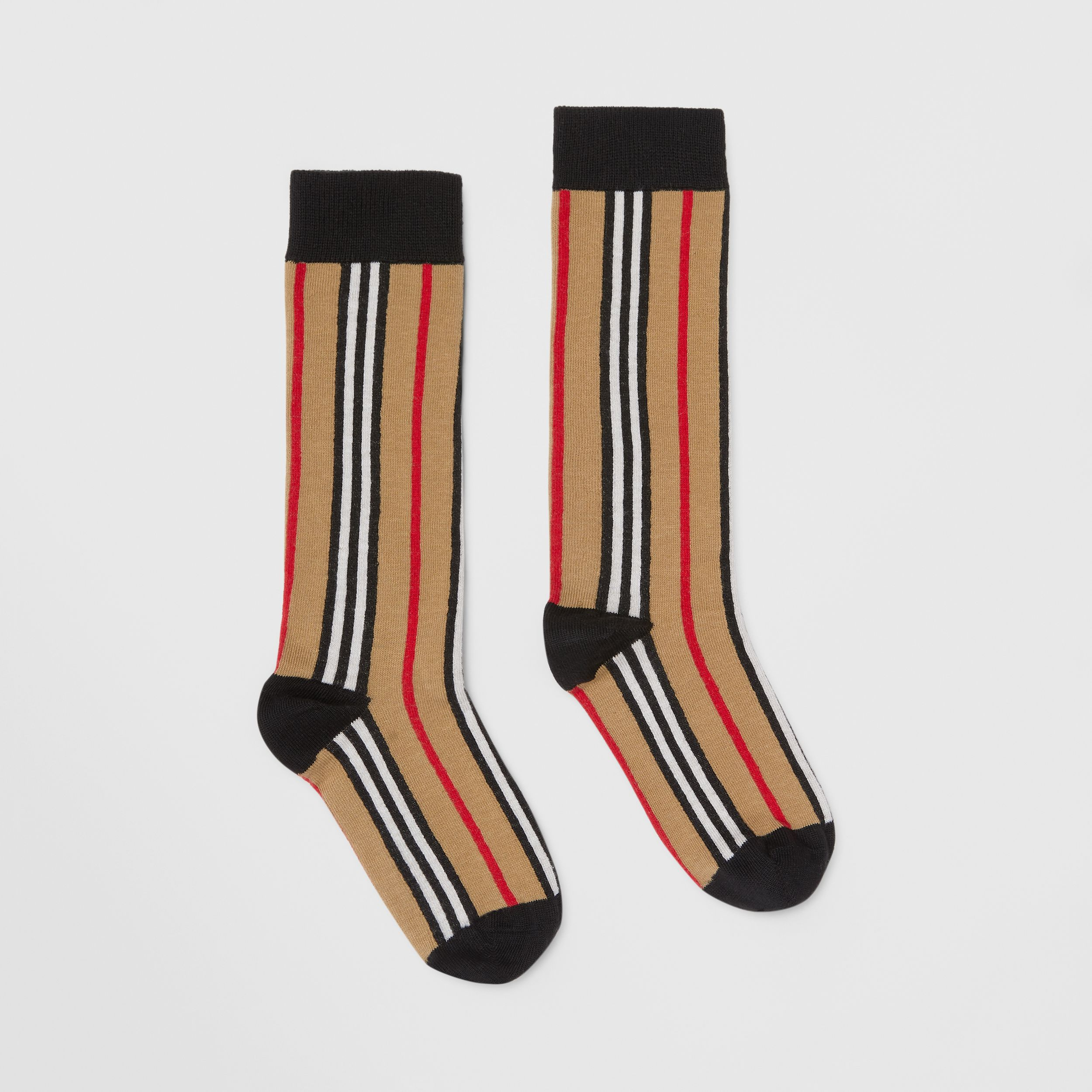 Icon Stripe Intarsia Cotton Blend Socks in Archive Beige - Children | Burberry United Kingdom - 4