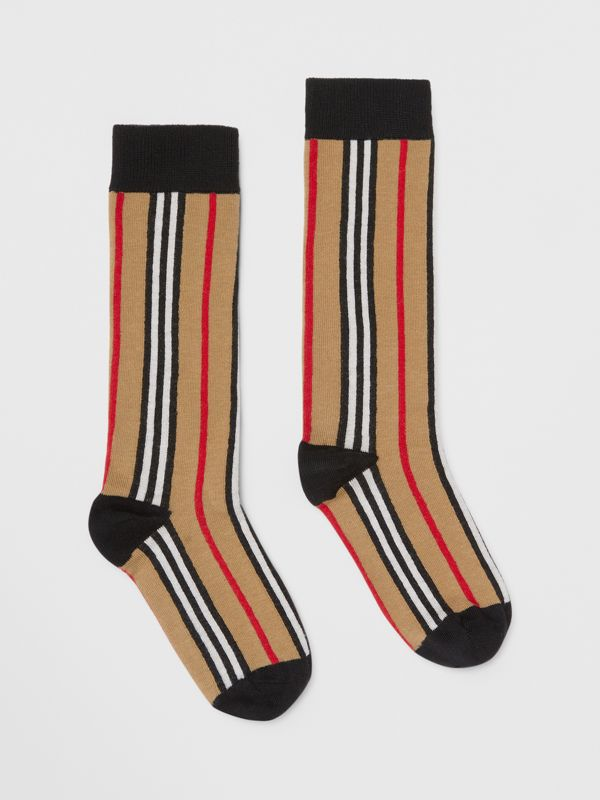 Icon Stripe Intarsia Cotton Blend Socks in Archive Beige - Children | Burberry - cell image 3