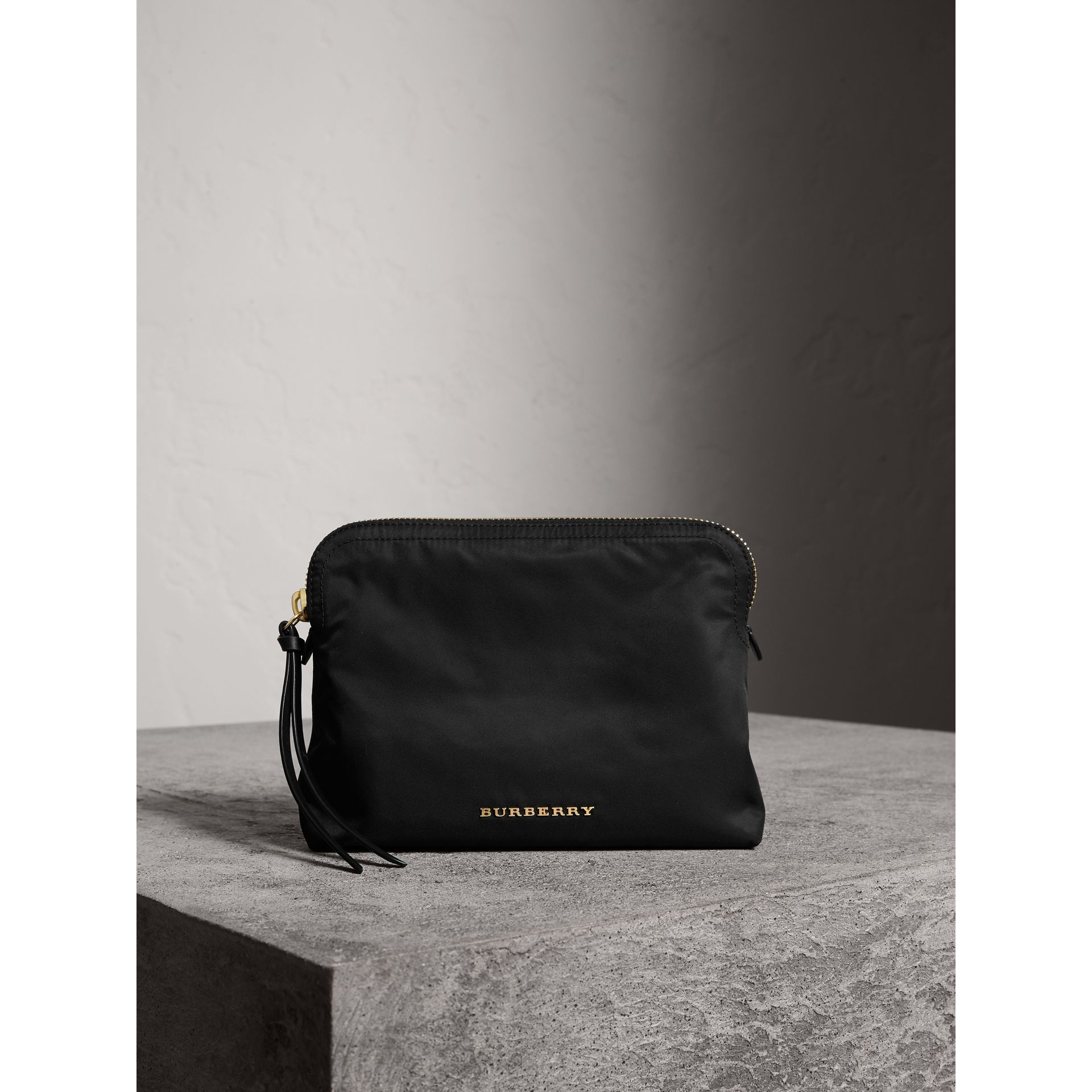 Large Zip-top Technical Nylon Pouch in Black - Women | Burberry Australia - gallery image 1