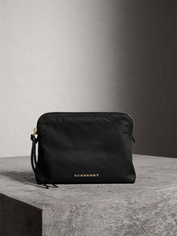Large Zip-top Technical Nylon Pouch in Black - Women | Burberry Singapore