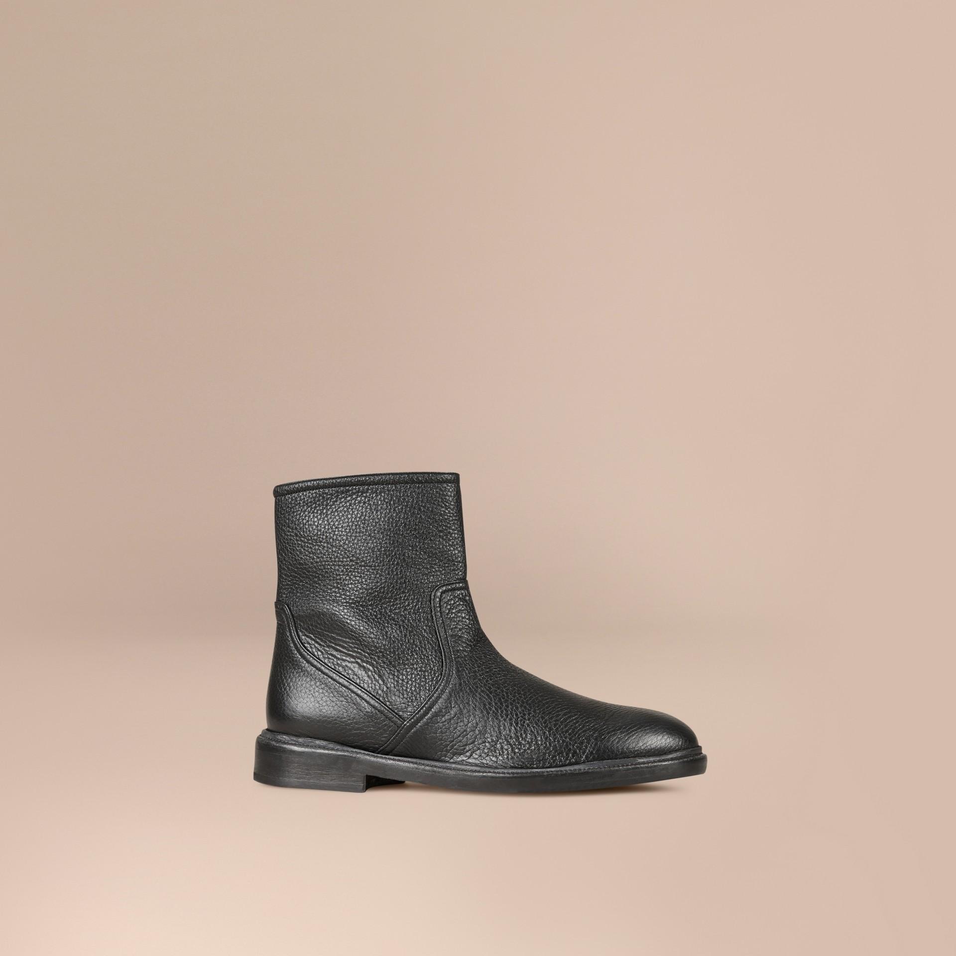 Black Deerskin Ankle Boots - gallery image 1