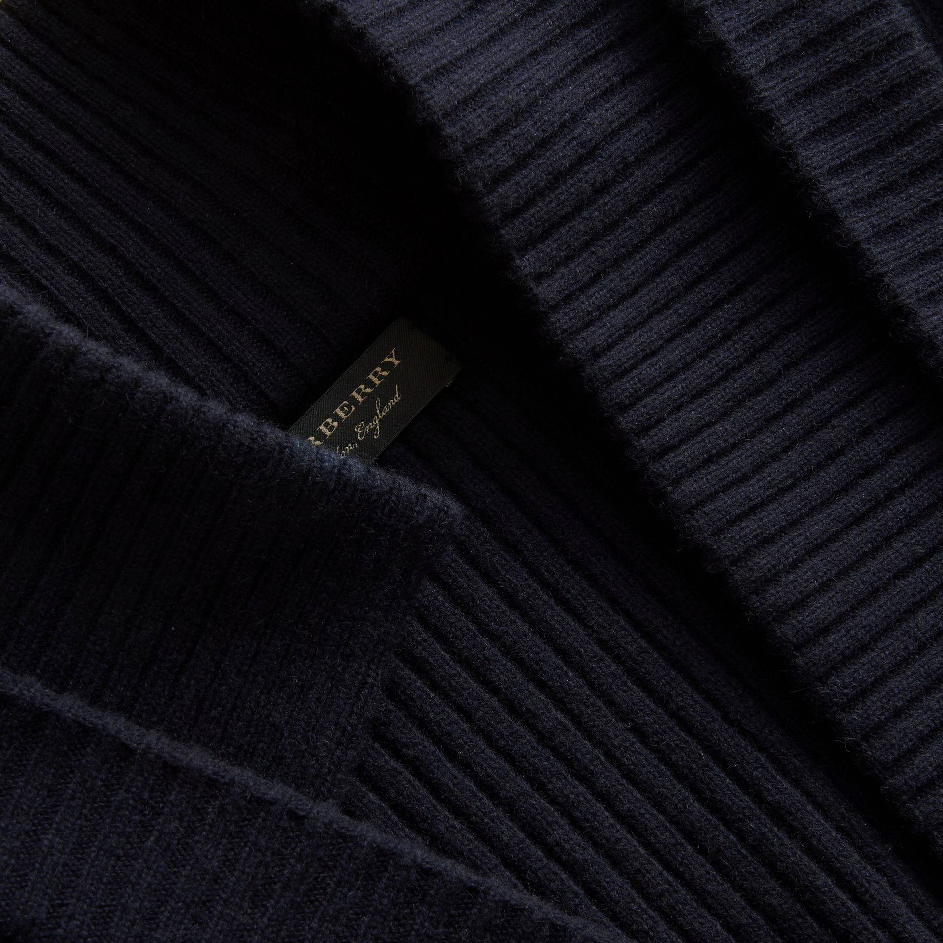 Knitted Wool Cashmere Military-inspired Jacket in Navy - Women | Burberry - gallery image 2