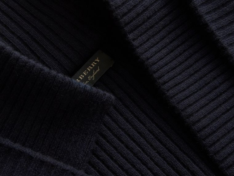 Knitted Wool Cashmere Military-inspired Jacket in Navy - Women | Burberry Singapore - cell image 1
