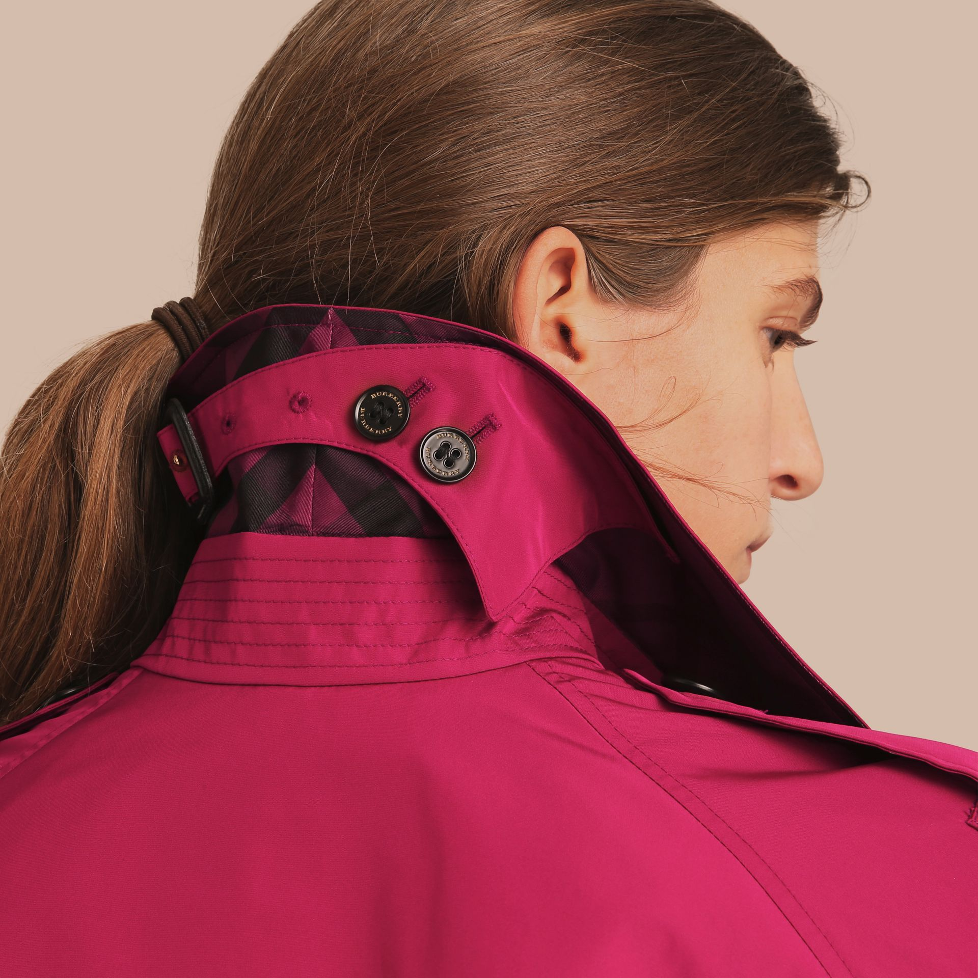 Single-breasted Technical Trench Coat Damson Magenta - gallery image 6