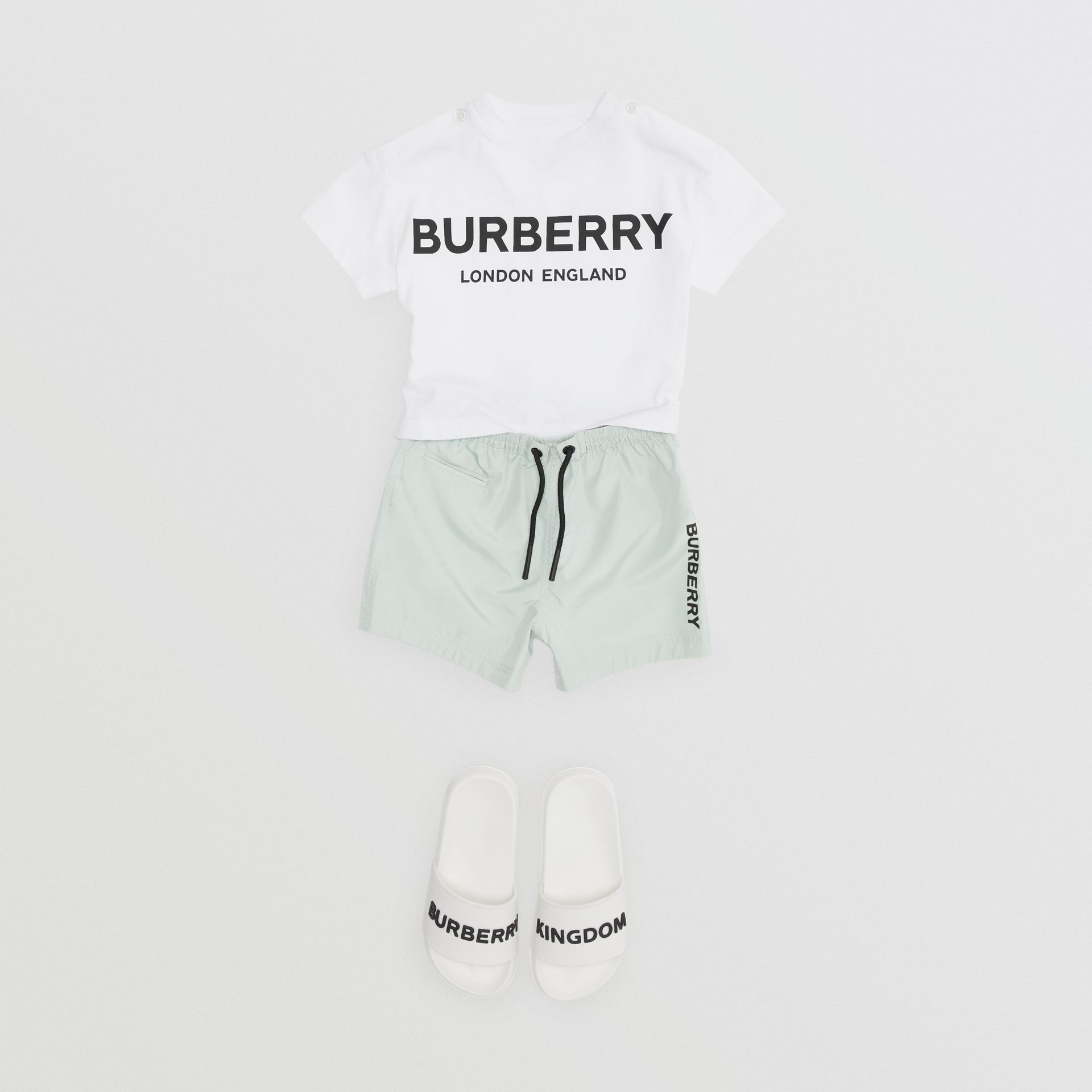 Logo Print Cotton T-shirt in White - Children | Burberry Australia - gallery image 2
