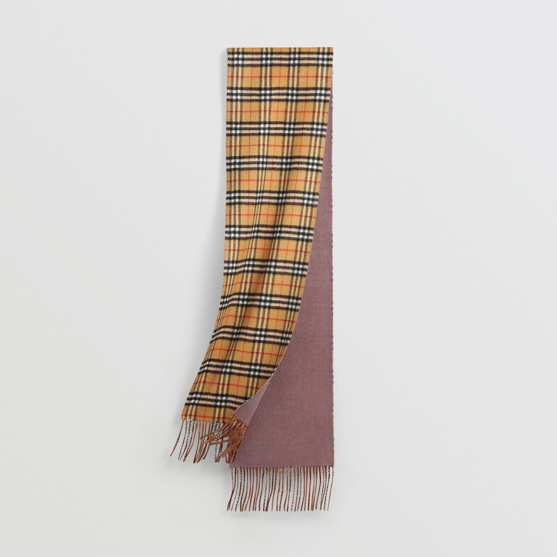 Long Reversible Vintage Check Double-faced Cashmere Scarf in Lilac Grey | Burberry Singapore - gallery image 0