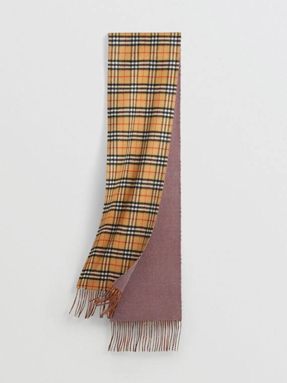 Long Reversible Vintage Check Double-faced Cashmere Scarf in Lilac Grey