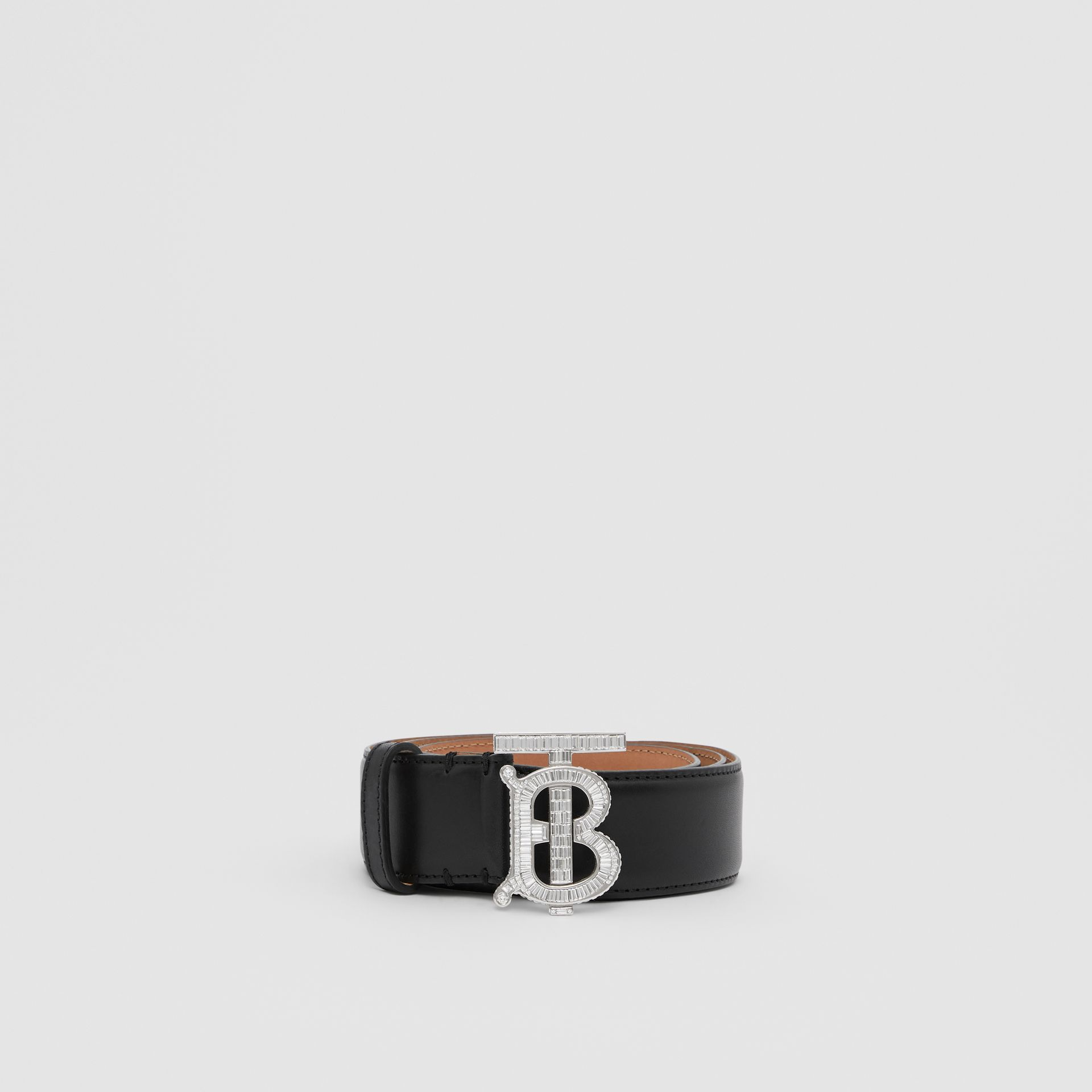 Crystal Monogram Motif Leather Belt in Black/palladium - Women | Burberry United States - gallery image 3