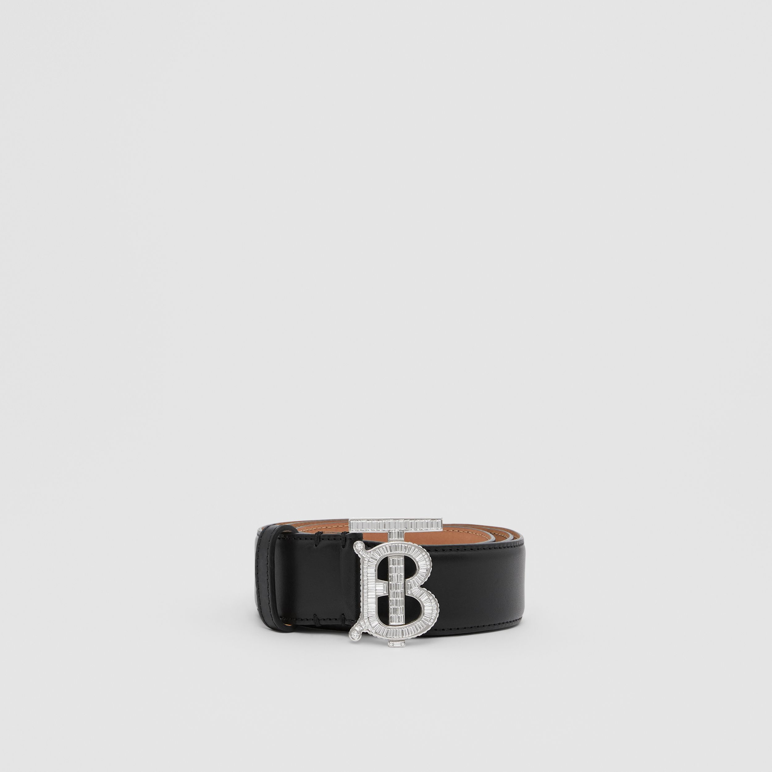 Crystal Monogram Motif Leather Belt in Black/palladium | Burberry - 4