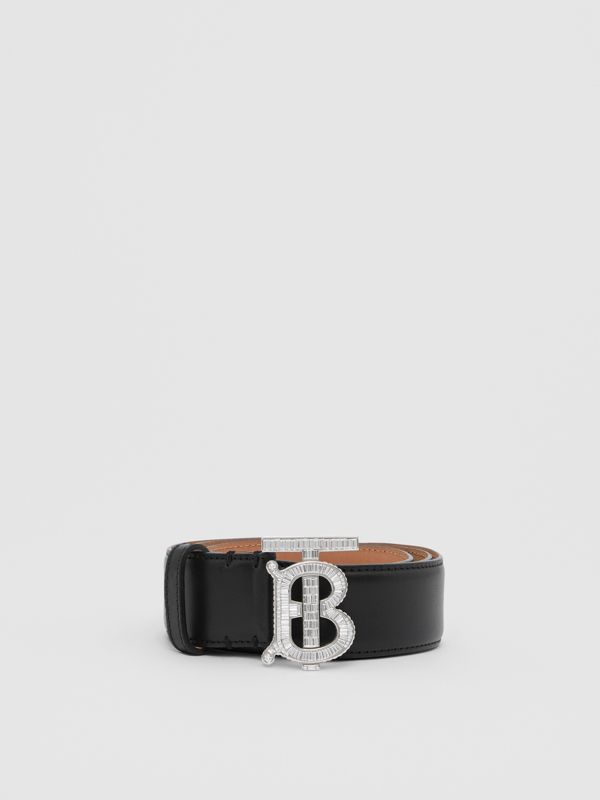 Crystal Monogram Motif Leather Belt in Black/palladium - Women | Burberry United States - cell image 3
