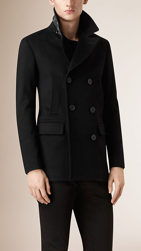 Black Virgin Wool Cashmere Pea Coat - Image 4