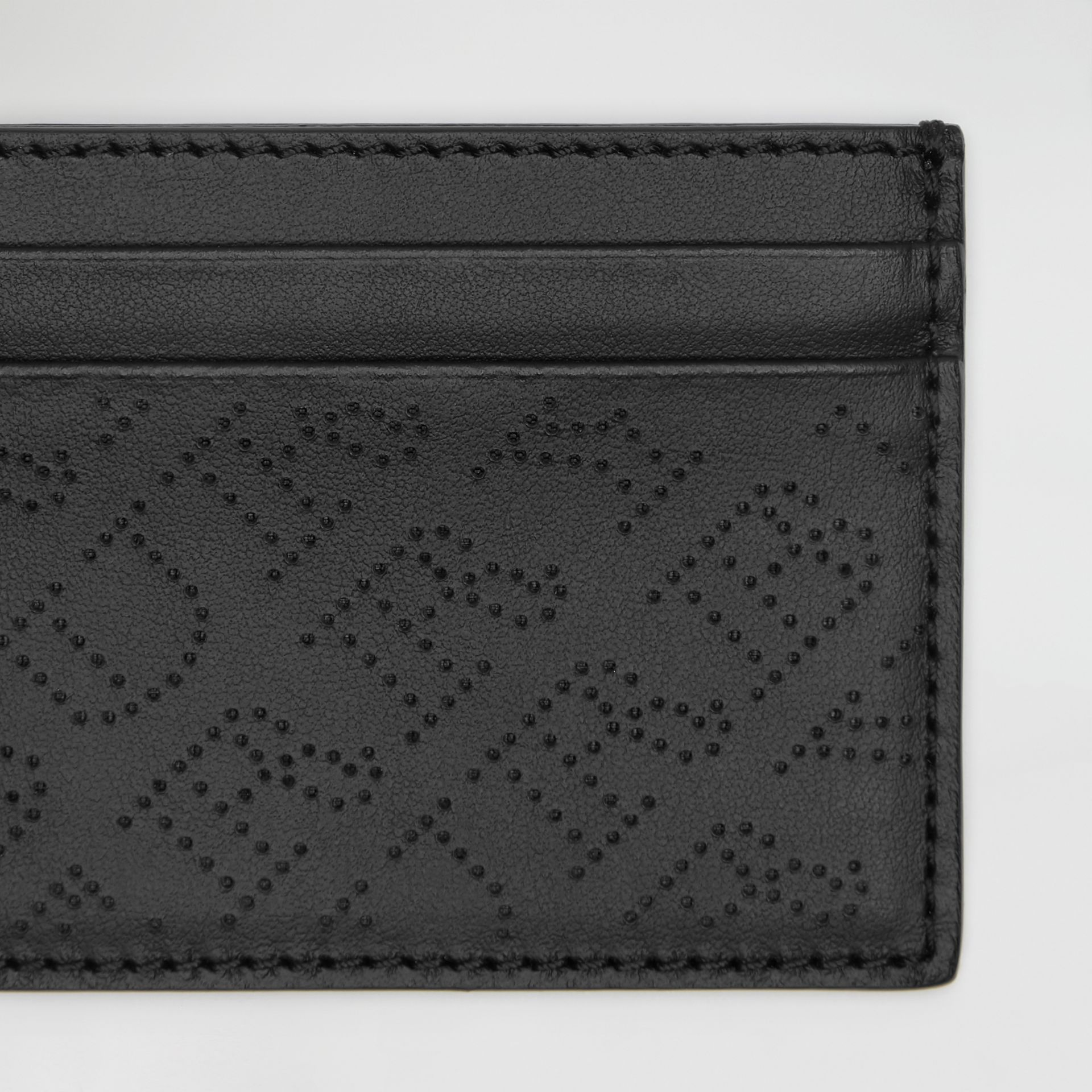 Perforated Logo Leather Card Case in Black - Women | Burberry - gallery image 1