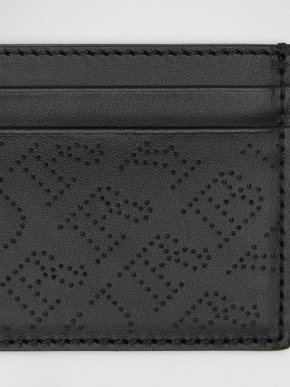 Perforated Logo Leather Card Case in Black - Women | Burberry Australia - cell image 1