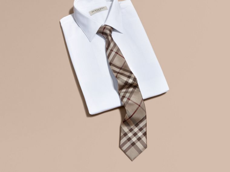 Smoked trench Modern Cut Check Silk Tie - cell image 2