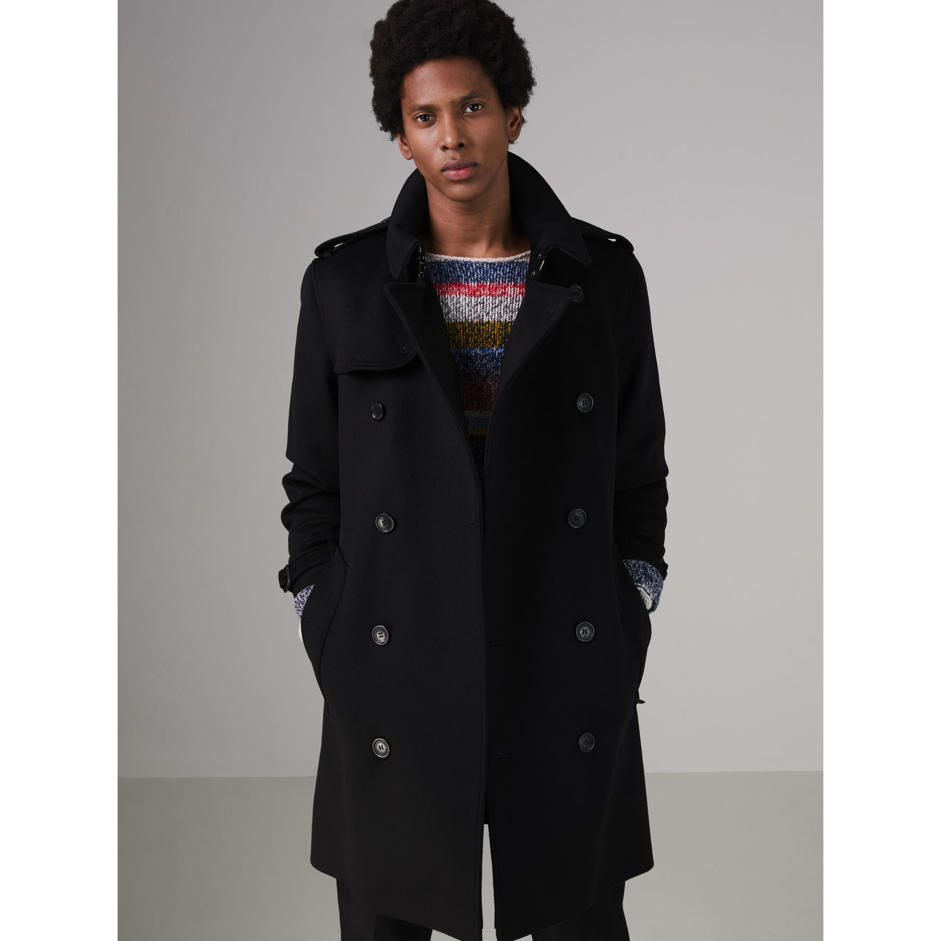 Wool Cashmere Trench Coat in Black - Men | Burberry United Kingdom - gallery image 5