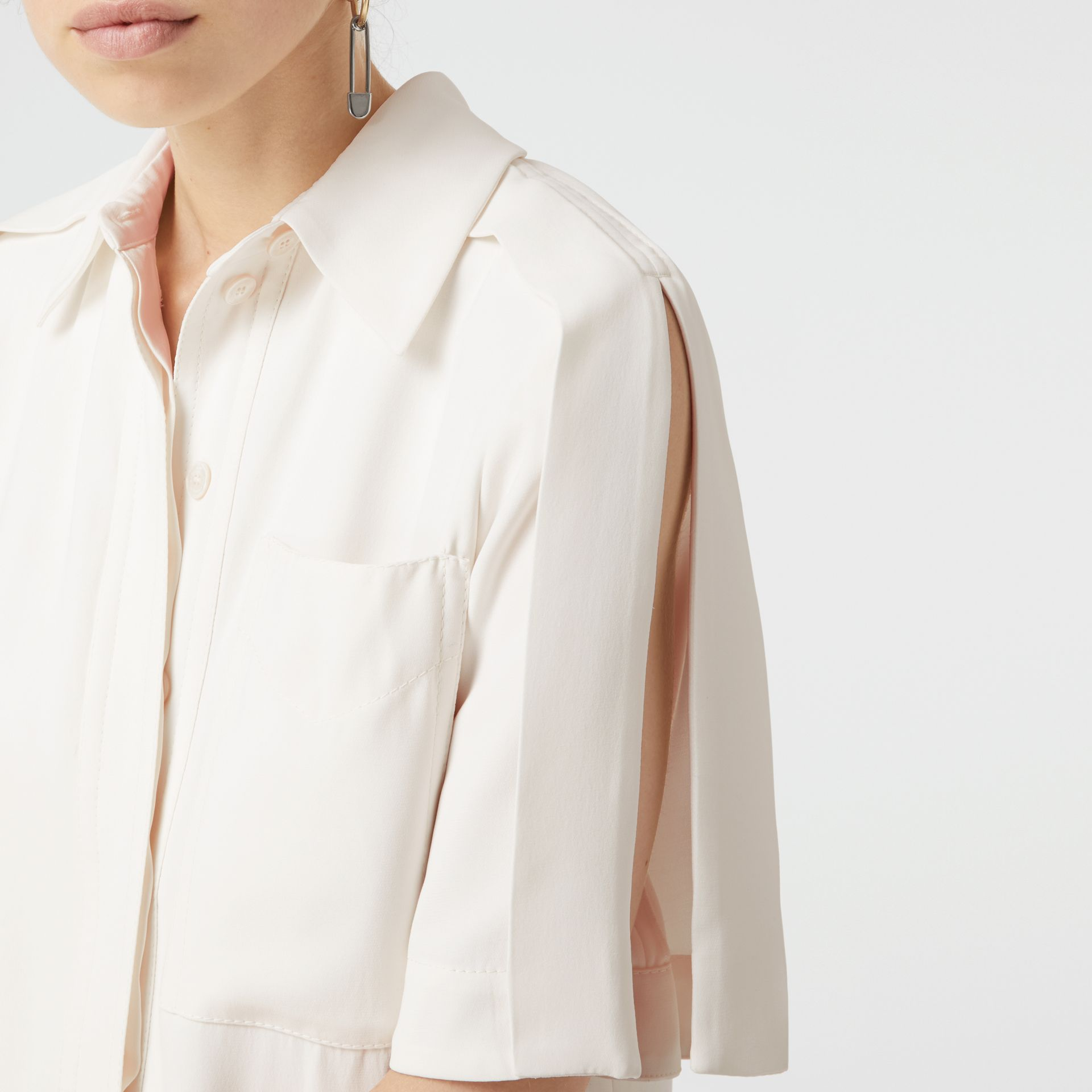 Split Detail Silk Wool Shirt Dress in Off White - Women | Burberry Australia - gallery image 1