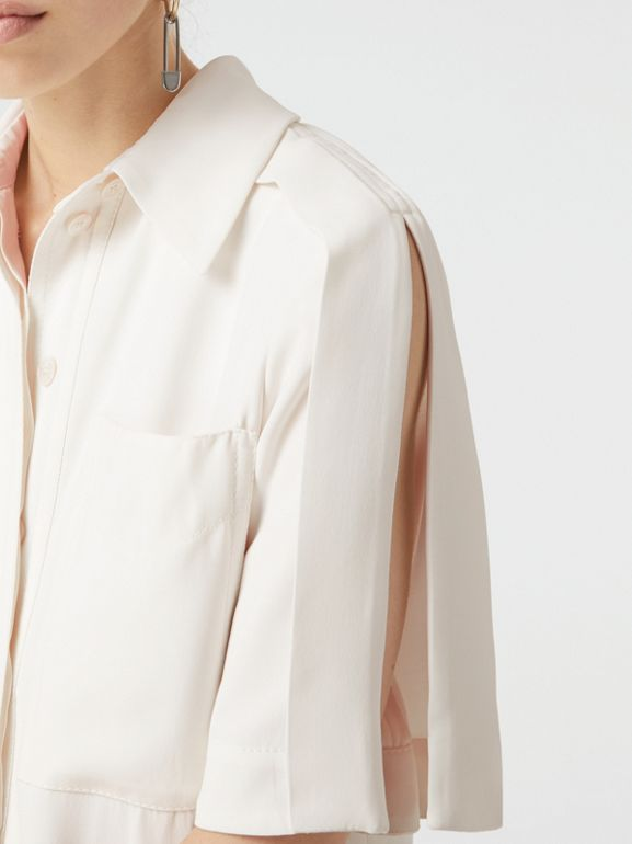 Split Detail Silk Wool Shirt Dress in Off White - Women | Burberry - cell image 1