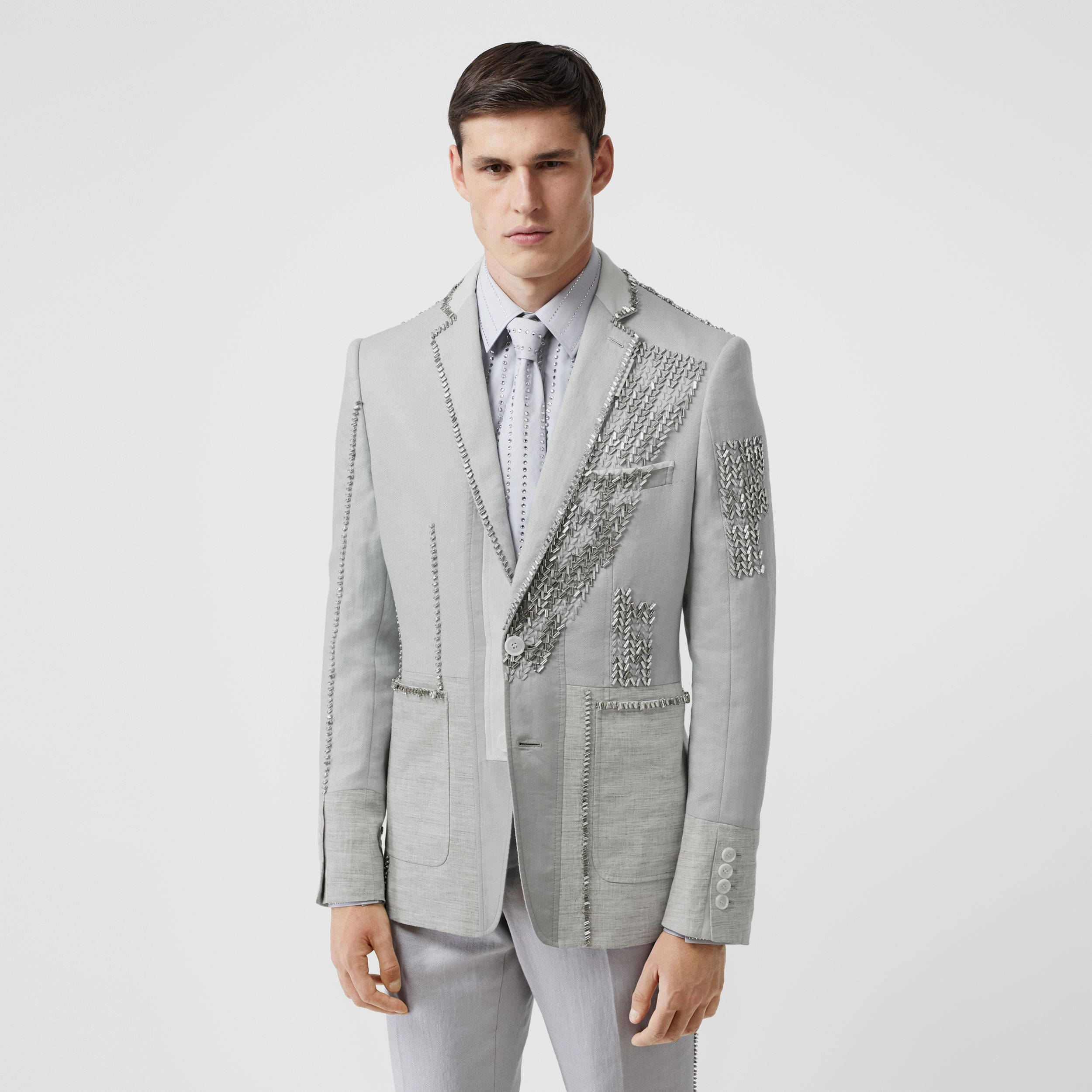 English Fit Crystal Embroidered Technical Linen Jacket in Light Pebble Grey - Men | Burberry - 1