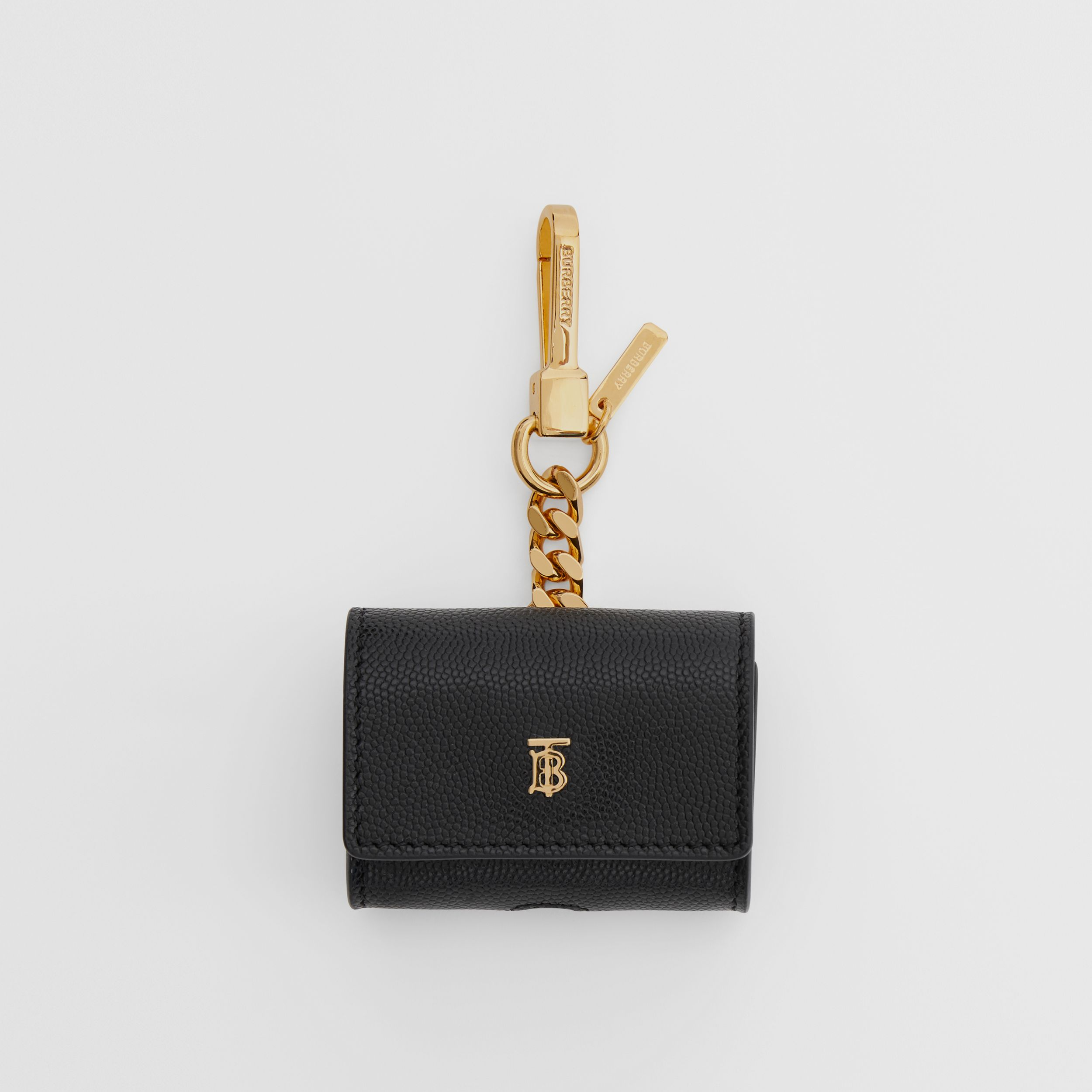 Grainy Leather AirPods Pro Case in Black | Burberry - 1