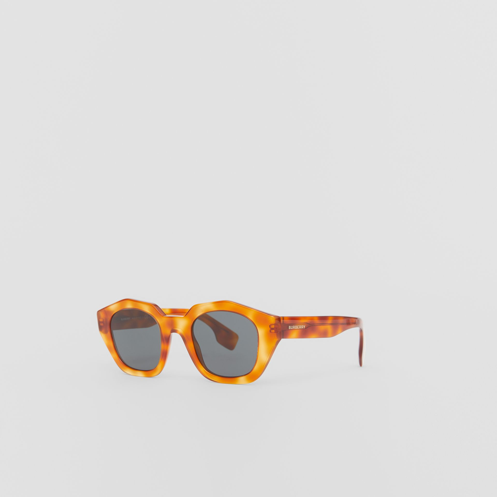 Geometric Frame Sunglasses in Tortoiseshell Amber - Women | Burberry - gallery image 5