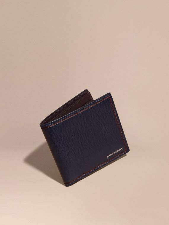 Border Detail London Leather Folding Wallet Dark Navy