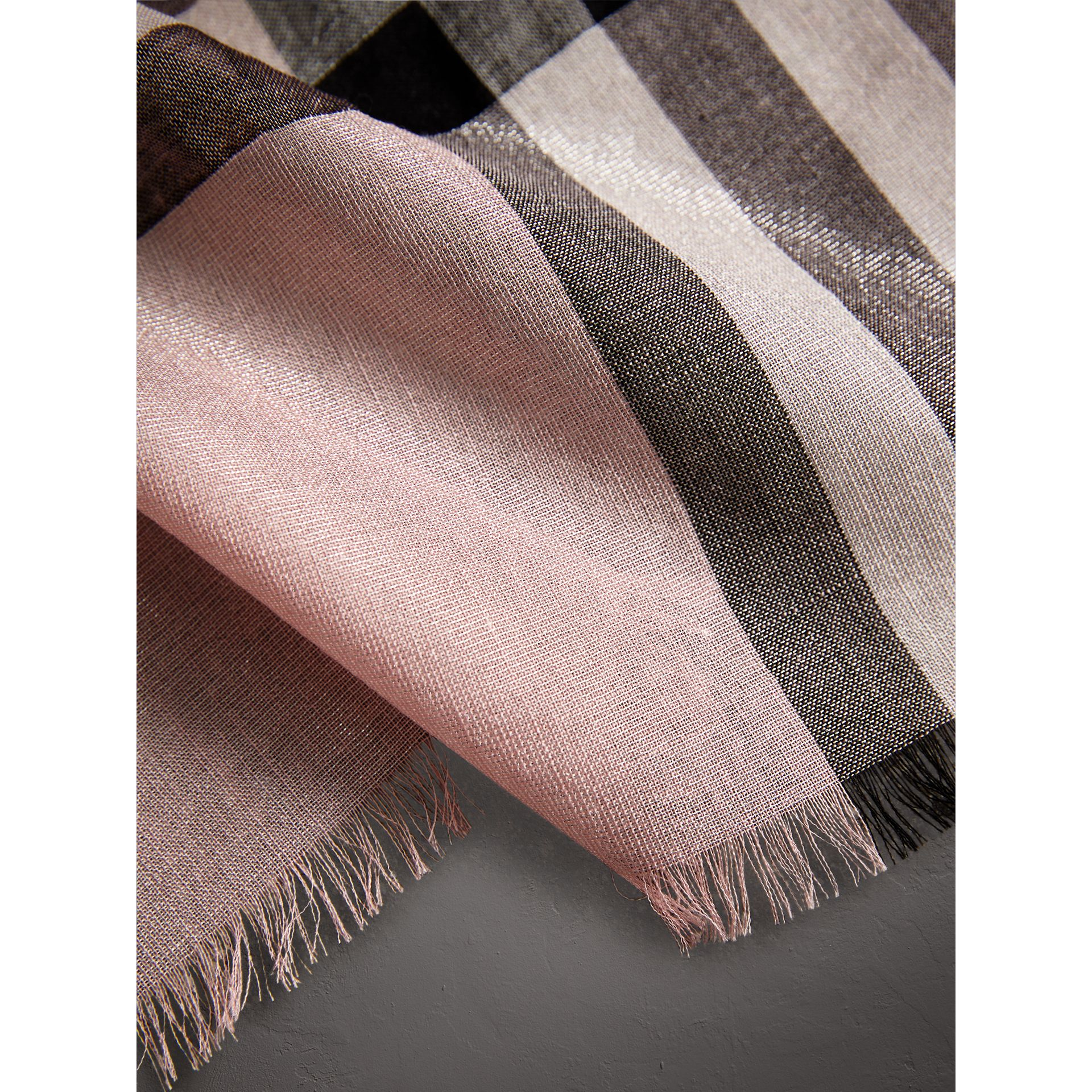 Metallic Check Silk and Wool Scarf in Ash Rose/silver - Women | Burberry Canada - gallery image 2