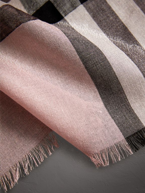 Metallic Check Silk and Wool Scarf in Ash Rose/silver - Women | Burberry - cell image 1