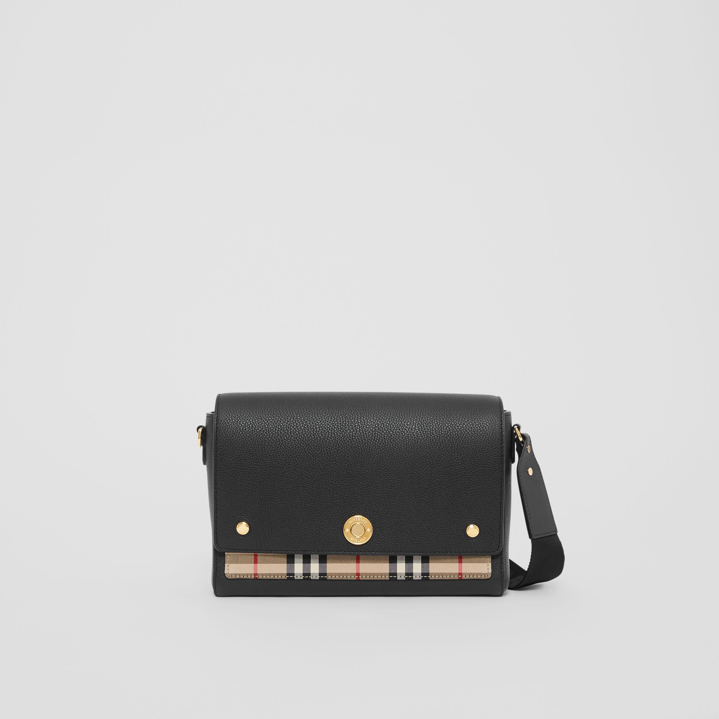 Leather and Vintage Check Note Crossbody Bag in Black - Women | Burberry - 1