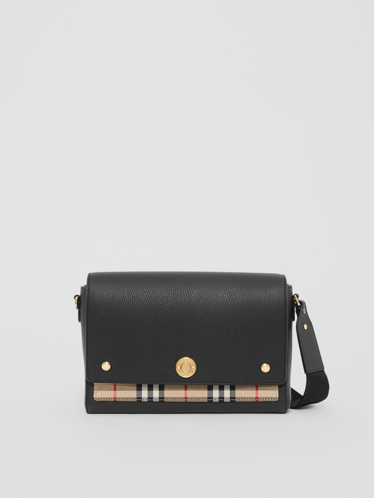 Leather and Vintage Check Note Crossbody Bag in Black