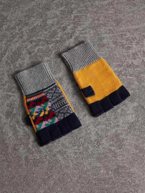 Cashmere Wool Fingerless Patchwork Gloves in Yellow