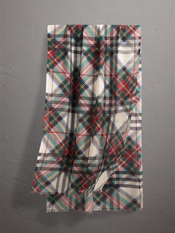 Tartan and Check Wool-silk Scarf in Red