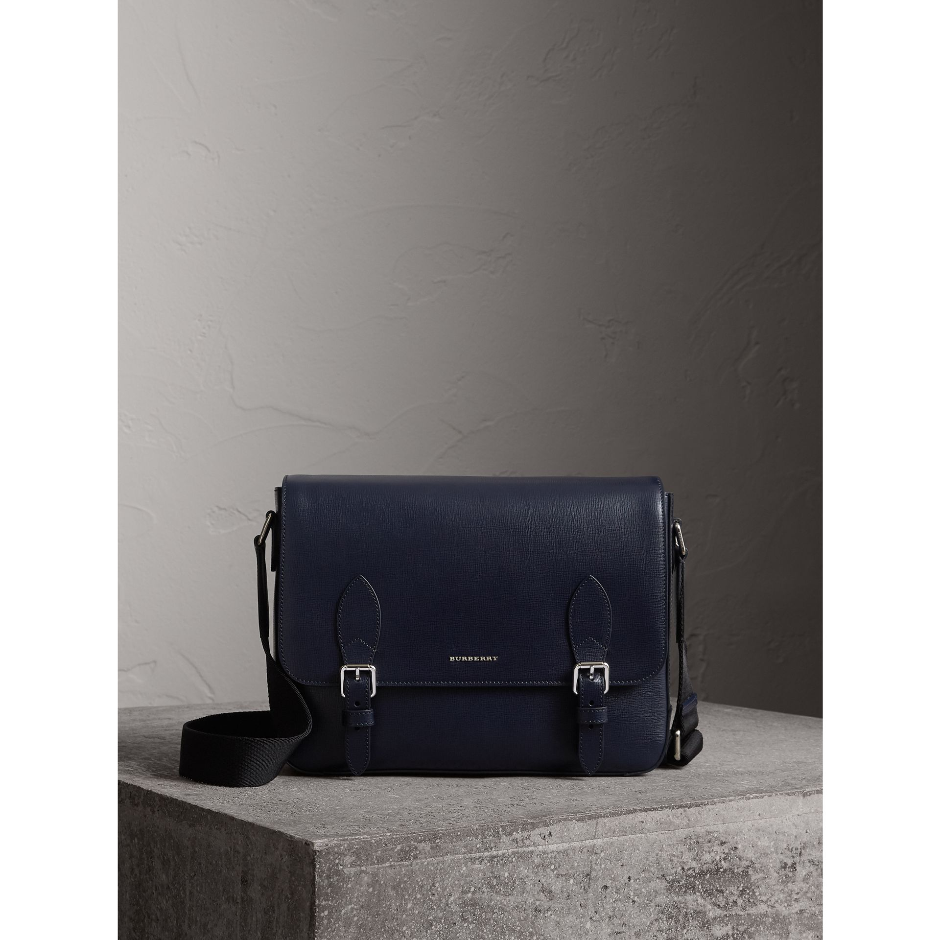 Medium London Leather Messenger Bag in Dark Navy - Men | Burberry - gallery image 1