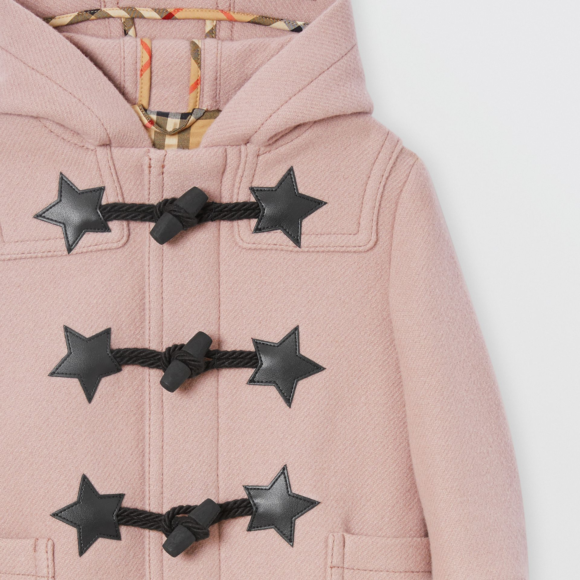 Faux Leather Star Detail Wool Blend Duffle Coat in Lavender Pink - Children | Burberry - gallery image 4