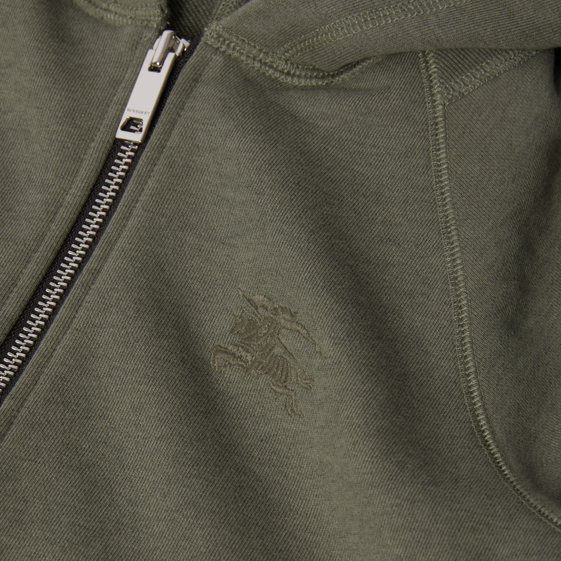 Cotton Jersey Hooded Top in Olive Melange | Burberry - gallery image 1