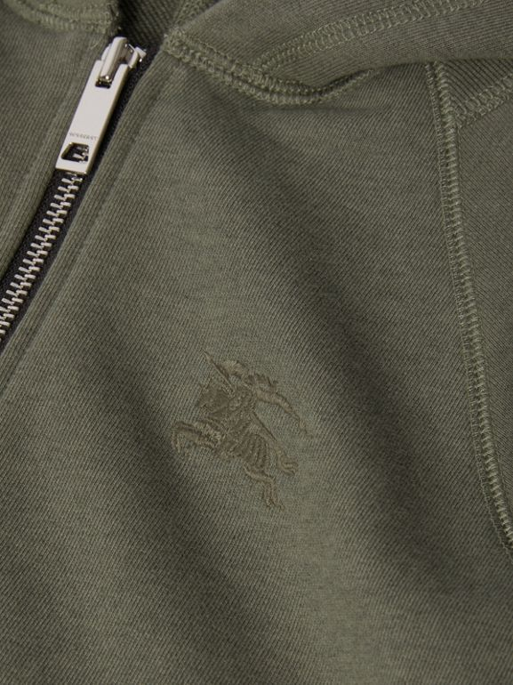 Cotton Jersey Hooded Top in Olive Melange | Burberry - cell image 1