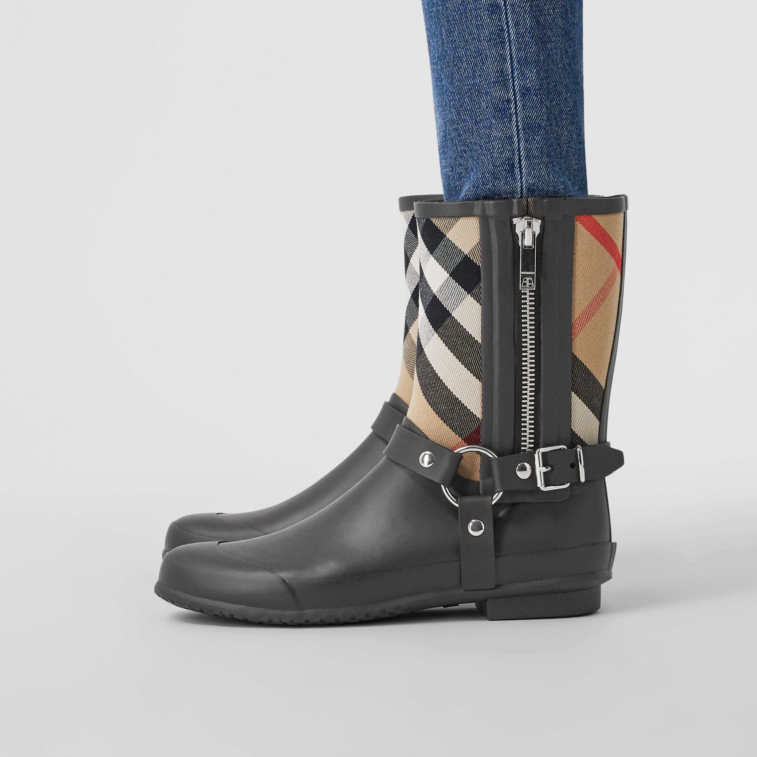 Strap Detail House Check Rubber Rain Boots in Black/archive Beige - Women | Burberry Australia - 3