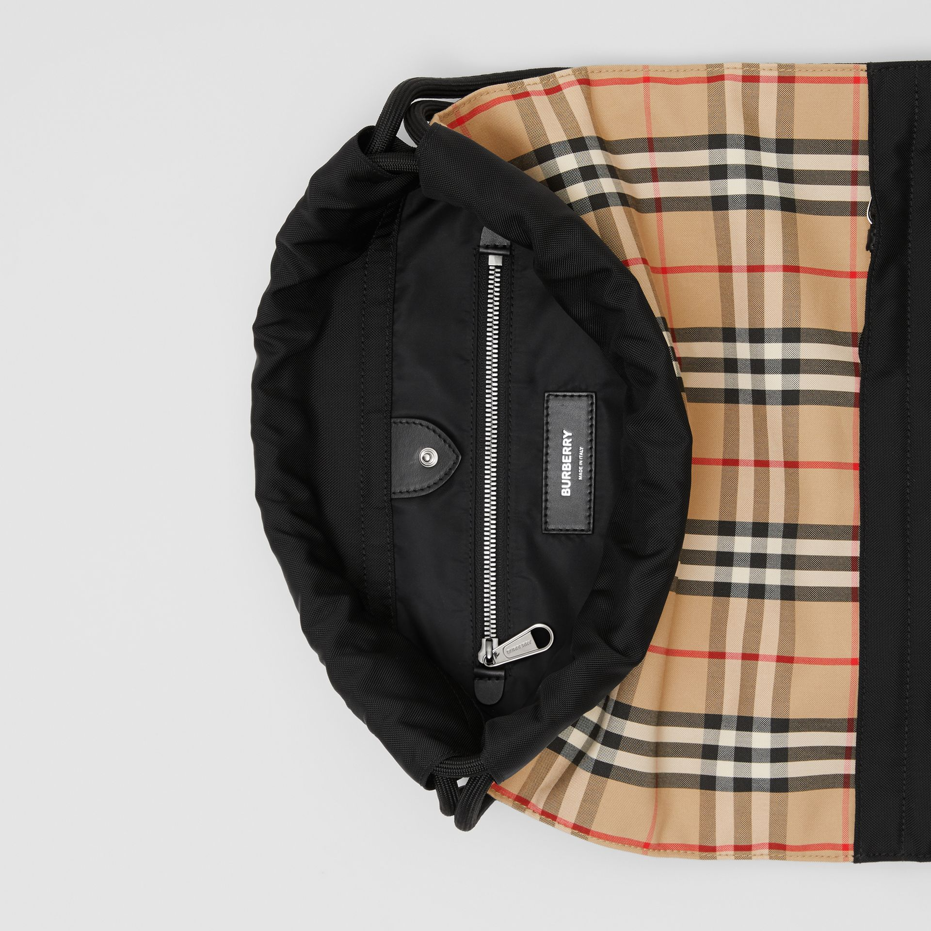 Vintage Check Panel Drawcord Backpack in Archive Beige | Burberry Canada - gallery image 9