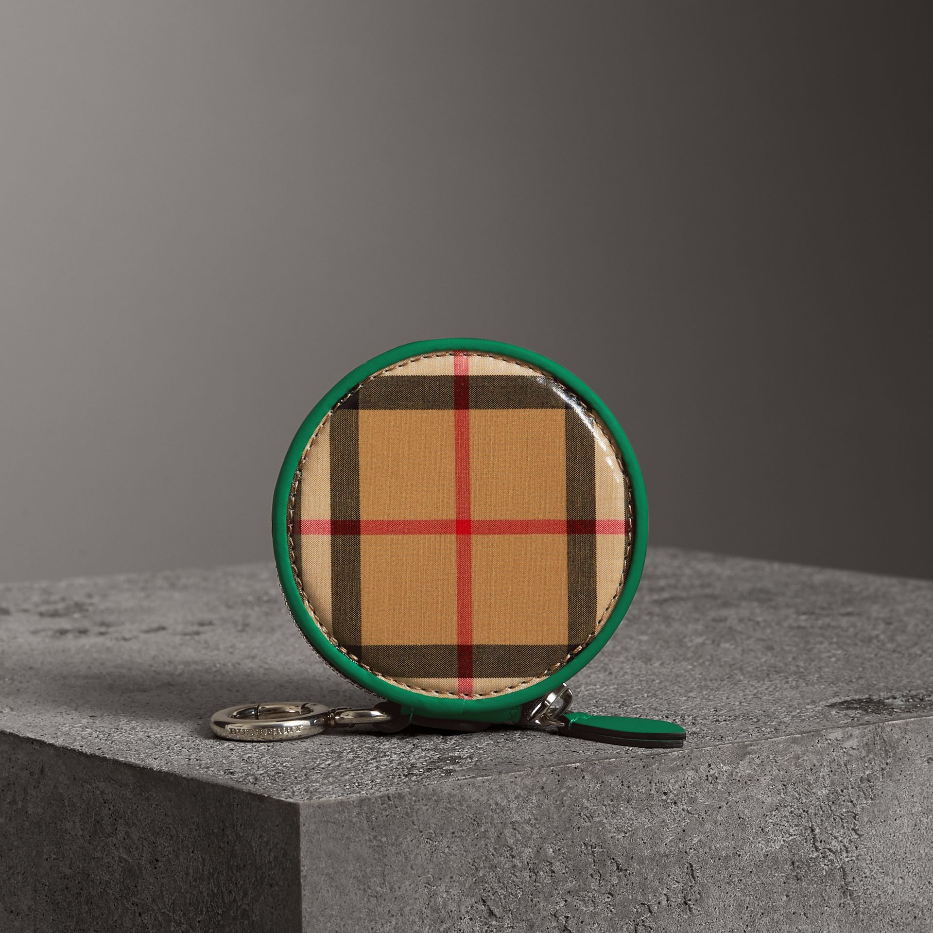 Coated Vintage Check Coin Case in Palm Green | Burberry Australia - gallery image 4